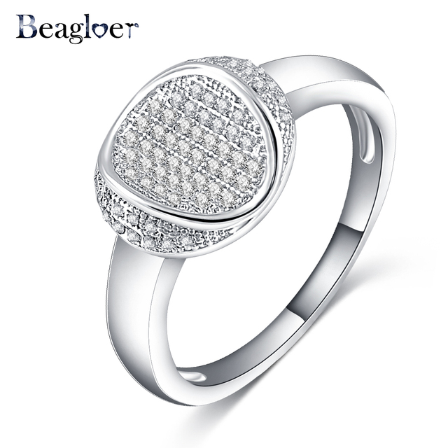 Beagloer Brand Latest Design Wedding Rings Silver Color Engagement Fine Jewelry Aneis Delicado Cri0133