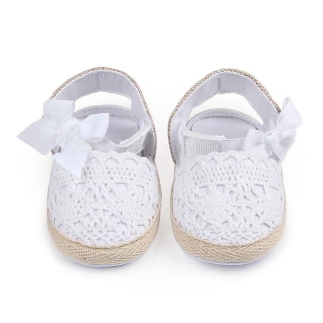 2018 Baby Girl Newborn Shoes Spring autumn Sweet Very Light Mary Jane Big Bow Knitted Dance Ballerina Dress Pram Crib Shoe hot