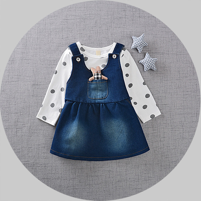 Маленькая Девочка Одежда Осень 2016 Детская Одежда Dress Princess Девушки Dress Girl Dress Dress Джинсовая Юбка Корейский точка