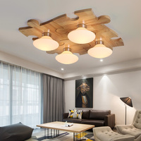 Creative simple Nordic log Ceiling Light Children's room puzzle wood fashion bedroom ceiling lamp Japanese DIY ceiling mount led