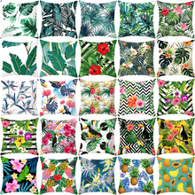 2019 NEW Hot sales tropical plant pillowcase green leaves and flowers 45*45 cm pillow cases home decorative pillow cover цена
