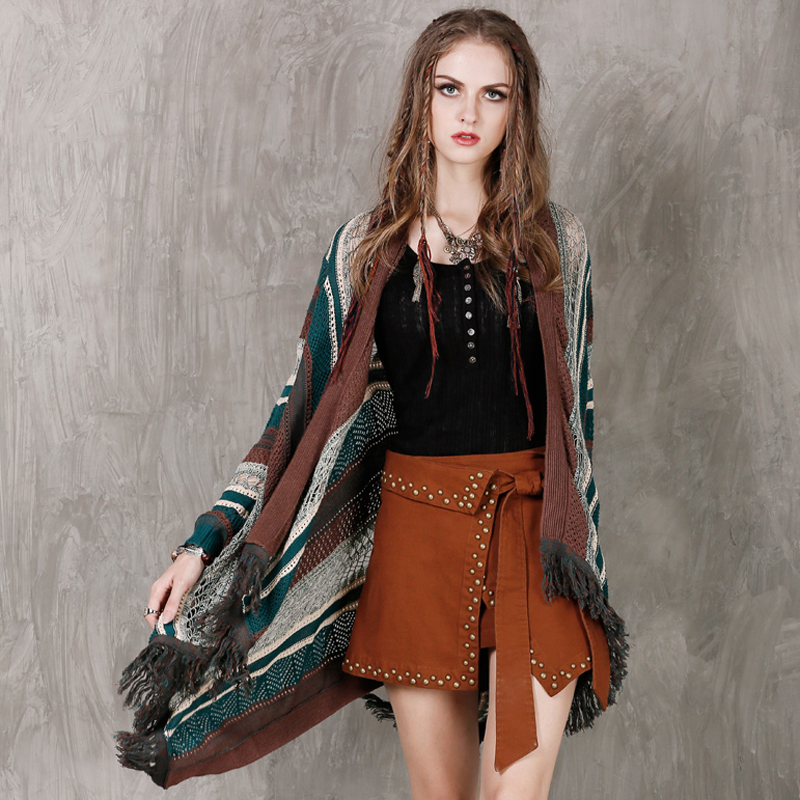 Autumn Sweater 2018 New Boho Vintage Yarn Women Knitted Sweater Cardigans Retro Hollow Out Asymmetrical Shawl Cardigan Feminino ...