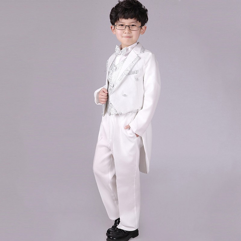 Boys Silver Wedding suits 6 pieces Clothing set for Kids Tail suit White Prom suit Page boy Outfits Child Evening dresswear 2016 new arrival fashion baby boys kids blazers boy suit for weddings prom formal wine red white dress wedding boy suits