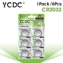 6 вещей/1 комплект, карты YCDC CR2032 литиевая батарея таблеточного типа батареи DL2032 ECR2032 BR2032 плоский круглый аккумулятор Батарея 3V CR 2032 для мобильного часо-электронный пульт дистанционного управления