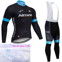 цена на TEAM 2019 ASTANA long sleeve cycling jersey bike pants suit Ropa Ciclismo men quick dry pro bicycle wear Maillot Pants clothing