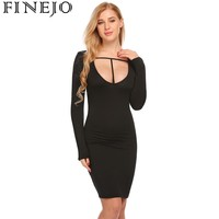 FINEJO Women Sexy Bodycon Dress Autumn Cut Out Dresss Long Sleeve Hollow Out Solid Package Hip