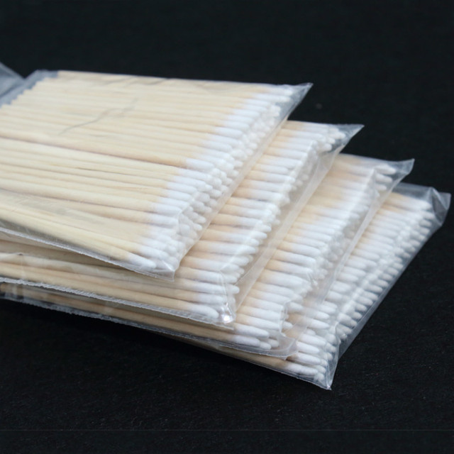 Cotonete de madeira para maquiagem permanente, ponta para cotonete, algodão, madeira, maquiagem permanente, jóias médicas de 7cm, varas limpadas com 100 peças