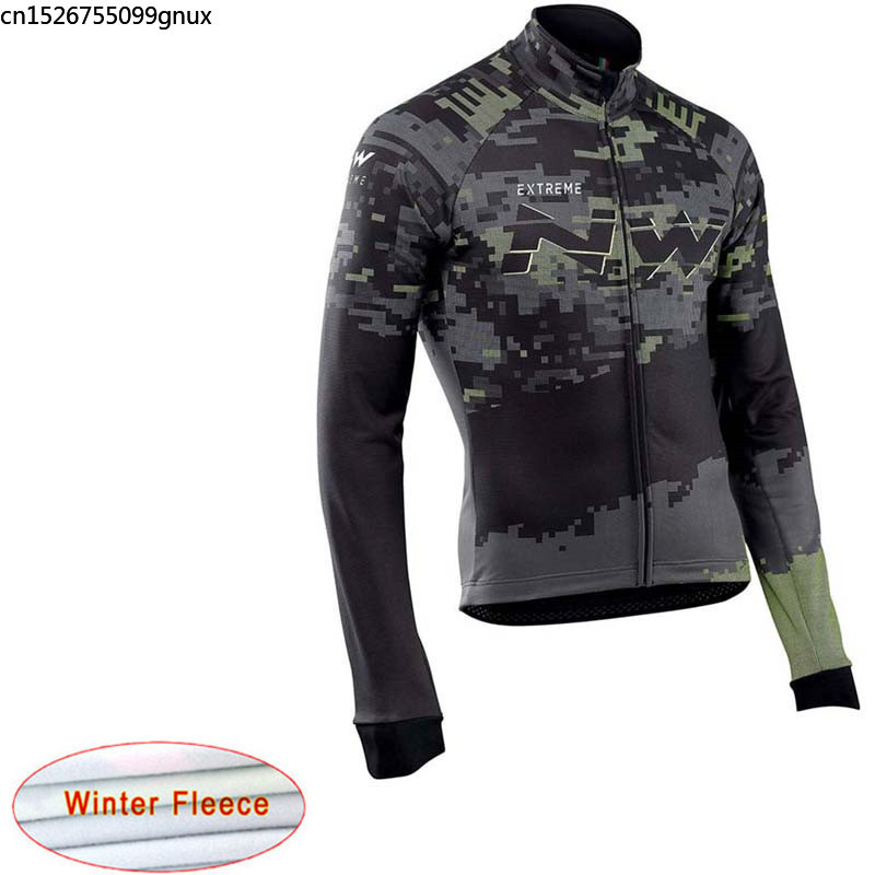 NW 2019 NEW Winter Thermal Fleece Long Sleeve Cycling Jersey Racing Bicycle Mountain Cycling Clothing Ropa Ciclismo Hombre C29(China)