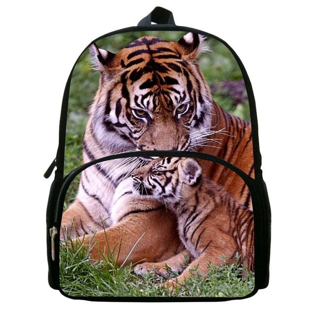 db31626e49de 12 Inch Hot sale Children Small Backpack Printing Tiger Animal Boys Bookbag  for Girls School Bags