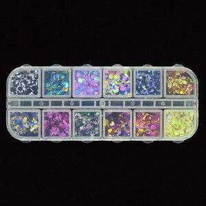 Image 3 - 1 Hộp Sáng Bóng Tròn Siêu Mỏng Paillette Móng Tay Kim Sa Lấp Lánh Kích Thước Hỗn Hợp Nhiều Màu Sắc Đầu Móng Tay Trang Trí Làm Móng 3D Móng Tay Phụ Kiện Lập