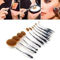 10 Adet Kadınlar Diş Fırçası Şekli Kozmetik Makyaj Yüz Pudra Fondöten Fırçalar Kozmetik Araçları