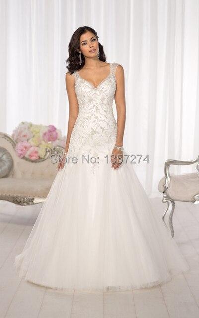 666d17661d9 Free Shipping Kleinfeld Wedding Dresses V Neck Bridal Gowns Top Lace A Line  Sheer Back Vestido De Noiva SW1562
