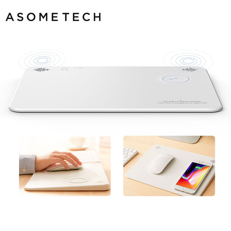 4 in 1 Bluetooth Speaker Wireless Charging Mouse Pad Qi Smart Phone Charger Gaming Mousepad 5000mAh Power Home Office Mouse Mat nillkin cozy mc1 2 in 1 qi wireless charger hifi bluetooth speaker