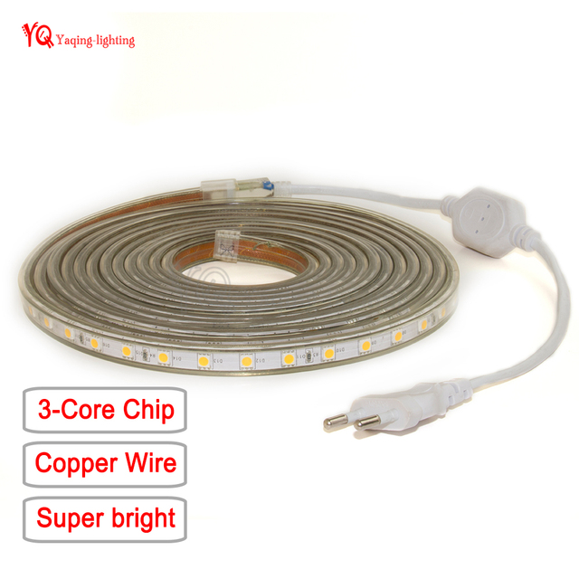 100m 50m AC 220V SMD 5050 copper wire Warm White LED Strip set ...