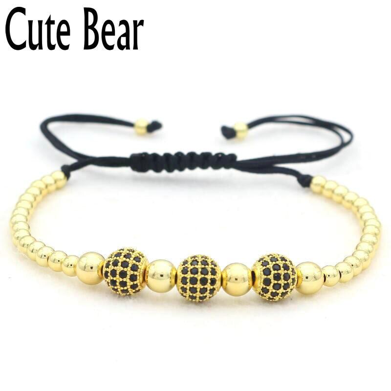 Cute Bear Brand Micro Pave Setting CZ Ball Bracelet Women Pure Manual Braiding 4mm Copper Beads Bracelet Men Charm Jewelry Gift