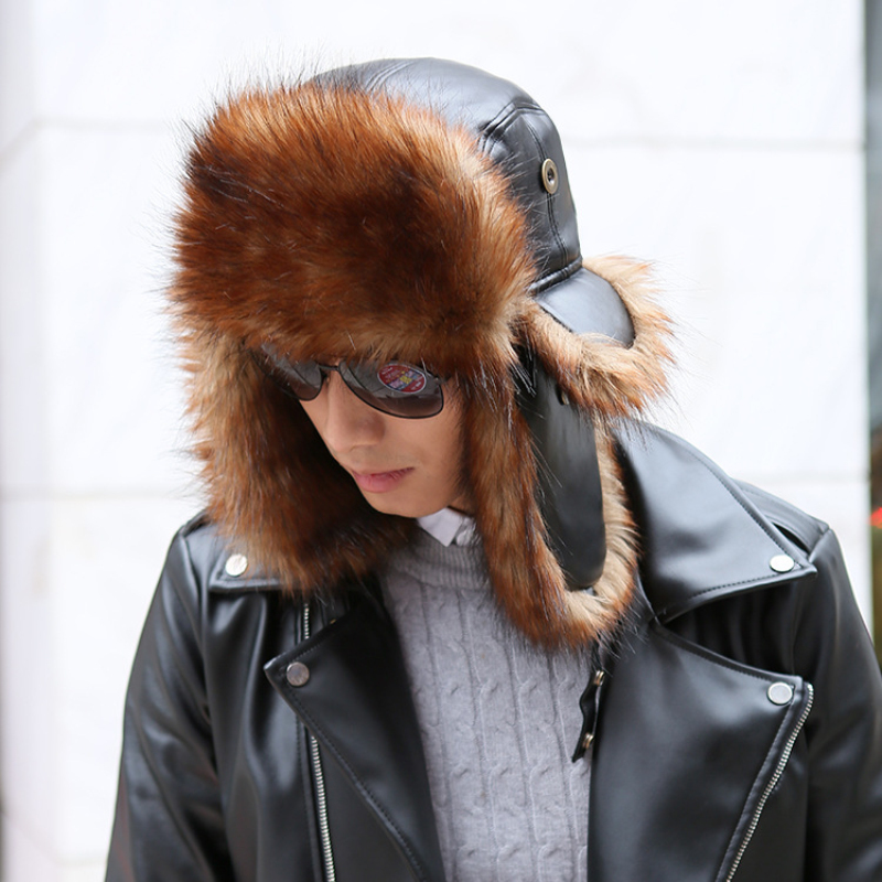 Fur Hat Bomber-Hats Russian Ushanka Black Warm Men for Thicken Ski Brown HT1382 High-Quality