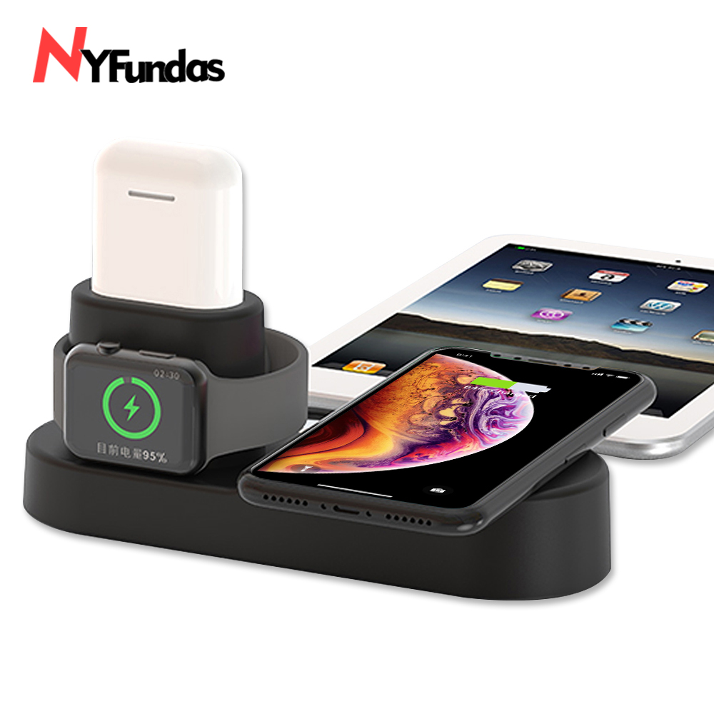 NYFundas 4 in 1 Wireless fast Charger Holder For iphone XS MAX XR 8 8 Plus X XS 10 Apple AirPods iwatch 2 3 4 induction station