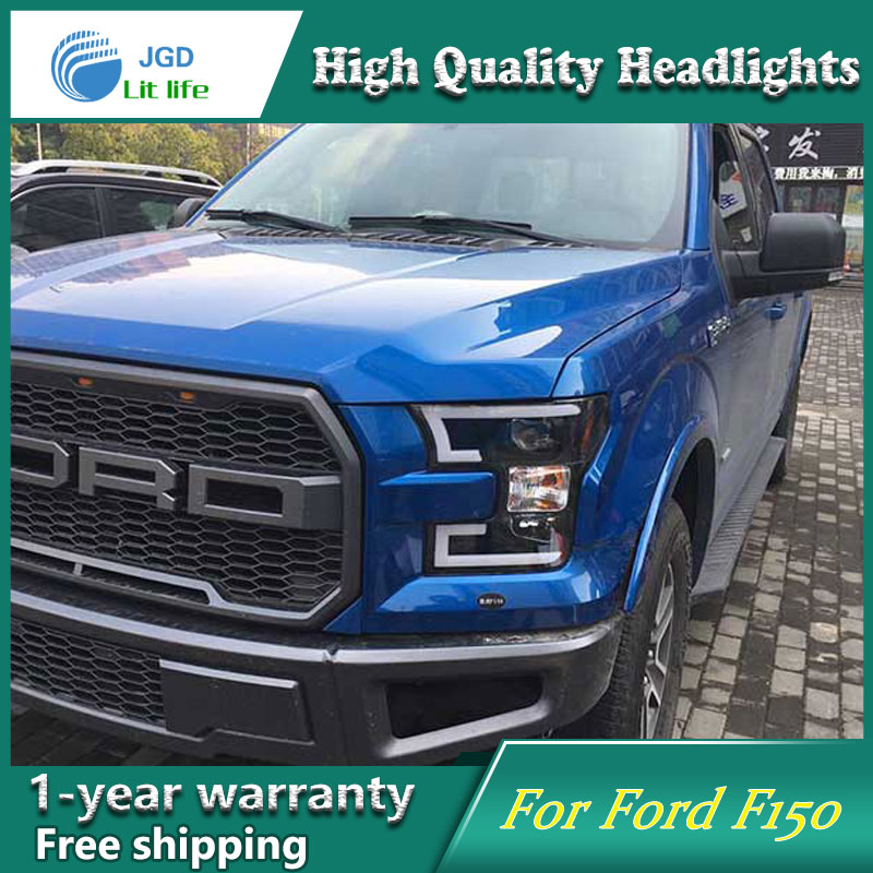 Car Styling Head Lamp case for Ford F150 Raptor LED Headlights 2015 DRL Daytime Running Light Bi-Xenon HID Accessories hireno super bright led daytime running light for ford raptor f150 f 150 2010 2011 2012 2013 2014 car led drl fog lamp 2pcs