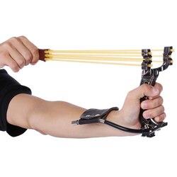 Poderosa Caça Catapult Slingshot Com Faixa De Borracha Tubo de PU de Couro Profissional Tático Bolso Sling Shot Bola de Plástico