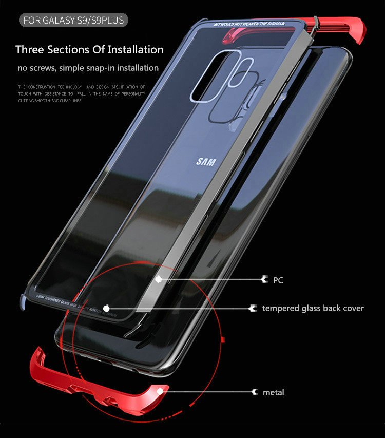 LUPHIE Case For Samsung Galaxy S9 Plus Metal Bumper Clear Tempered Glass Back Cover  (16)
