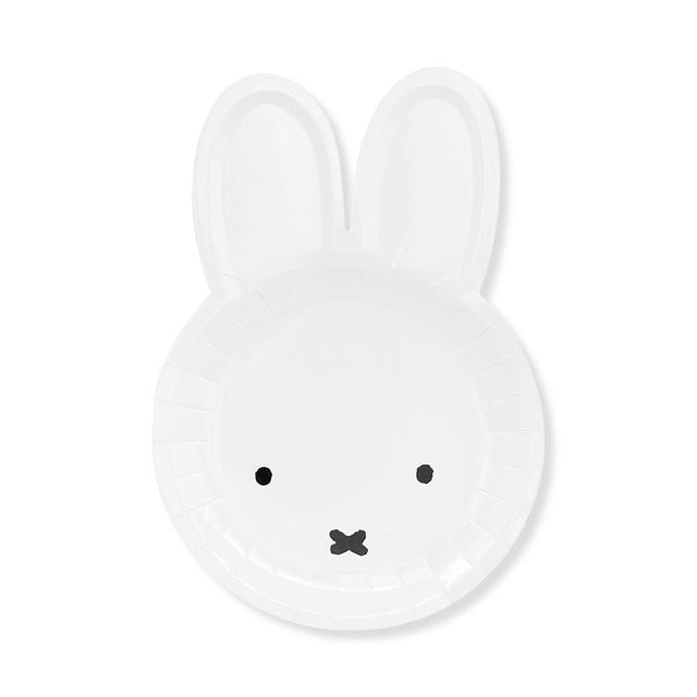 8pcs Paper Plates White Cartoon Dish Rabbit Shaped Disposable