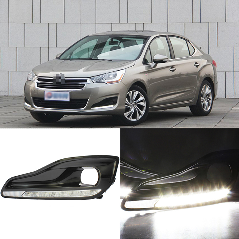 Ownsun New Updated LED Daytime Running Lights DRL With Black Fog Light Cover For Citroen C4 2013 цена и фото