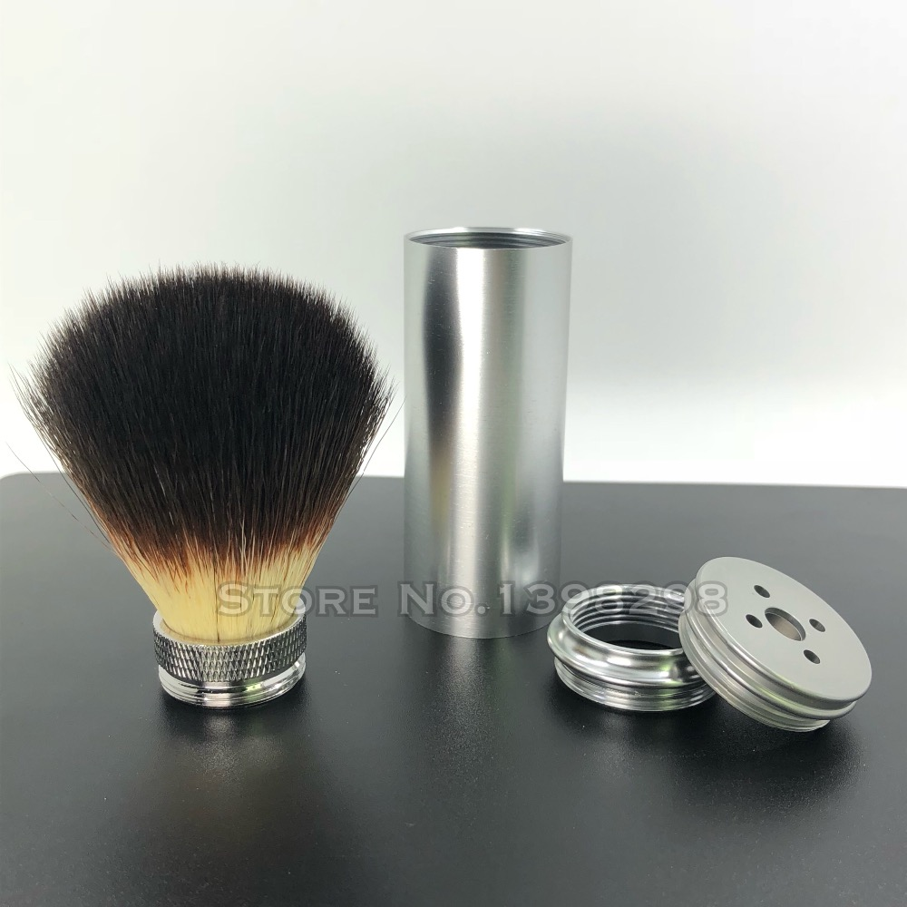 CAB Knot 20mm Aluminium Matte Chrom Handle Travel Shaving Brush Men Shave Wet Tool