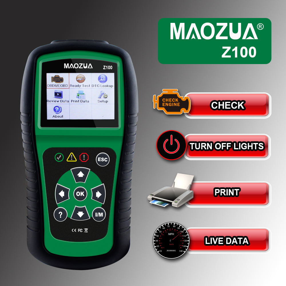OBD OBD2 Car Scanner MAOZUA Z100 Auto OBD 2 Fault Code Reader Scanner Update Online Automotive Diagnostic Tool PK AL519  цены