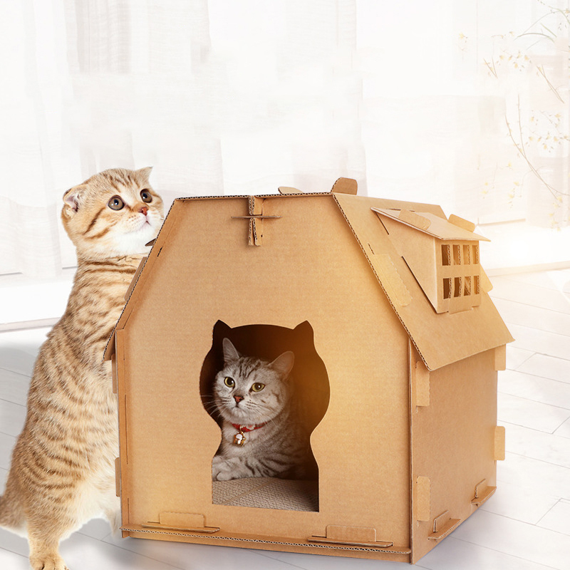 Hoomall Diy Corrugated Paper Cat House Have Small Window Cat Scratch Board Toys Self Assembly Cat's House Carton Box Pet Tools