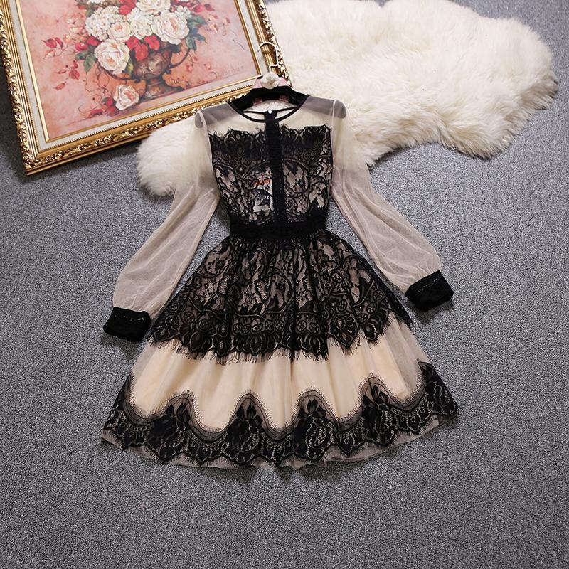 2019 Spring Autumn New Female Lace Embroidered Gauze Long-sleeved Dress Women's O-neck Mesh Puff Dresses