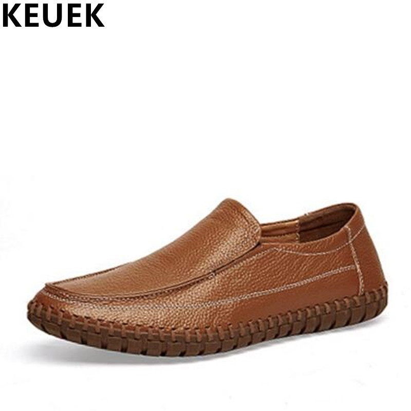 Large size Men casual shoes Cow Leather Breathable Slip-On Loafers Luxury Genuine leather Male Driving shoes Soft Boat shoes 02C klywoo breathable men s casual leather boat shoes slip on penny loafers moccasin fashion casual shoes mens loafer driving shoes