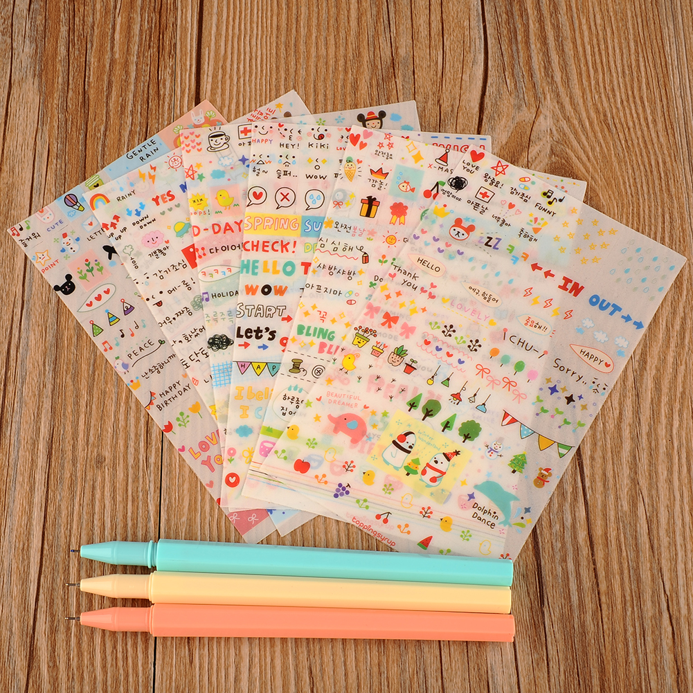 Scrapbook paper decor - Cute Stickers Lovely 6 Sheet Paper Stickers For Scrapbook Book Decor For Decoration Cartoon Scene Stickers
