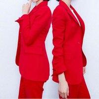 Пользовательские моды новый красный повседневная женская обувь костюм из двух Костюм из нескольких предметов (куртка + Штаны) женские делов