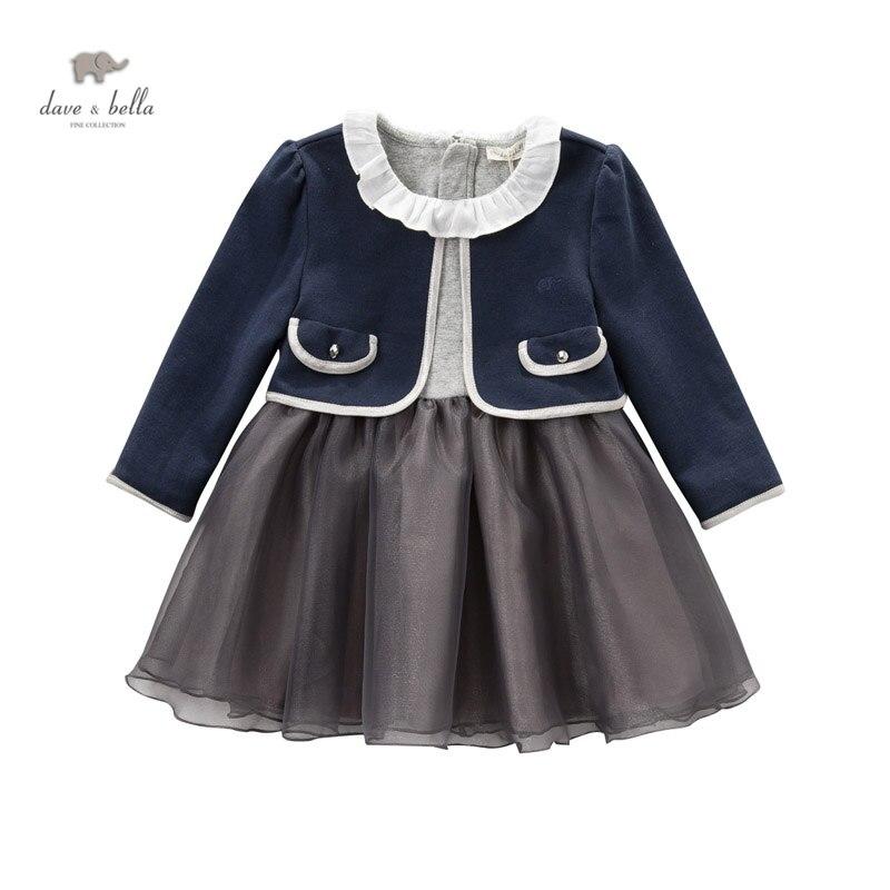 ФОТО DB3921  dave bella autumn baby girls grey princess dress  2pcs set with coat