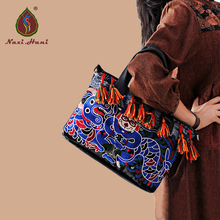 Newest Exotic Black Cow leather Embroidery Women handbag Fashion Vintage brand handmade tassel shoulder messenger bags