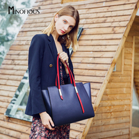 MINOFIOUS Women Genuine Leather Large Capacity Tote Bag Fashion Casual Real Leather Shoulder Bags Europe and America Handbag