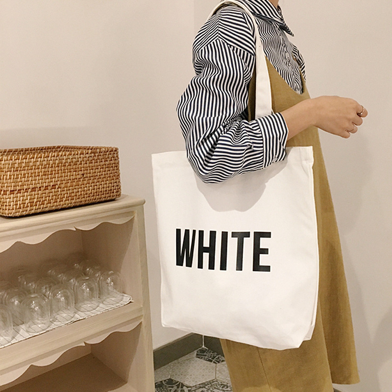 7bffd2a0a529 US $12.13 |Women's Casual Shoulder Bags English Word Print Medium Size  Beach Bag Ladies Eco Shopping Handbags Simple Style Tote Bag-in Shoulder  Bags ...