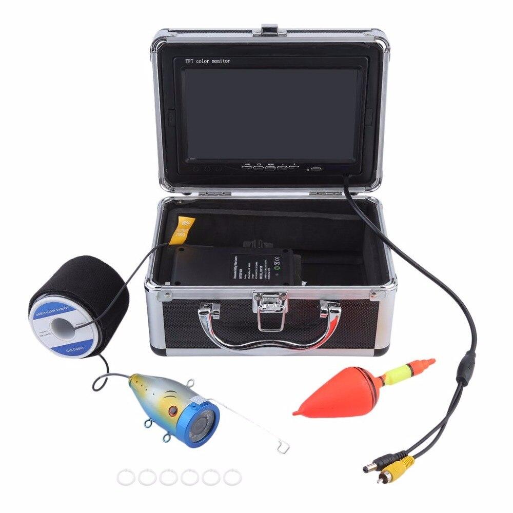 Профессиональное видео Рыболокаторы 1000TVL огни управляемой подводный Рыбалка Камера комплект озеро под водой видео Рыболокаторы