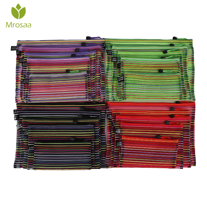 Mrosaa A4 A5 B4 B5 B6 Colorful Waterproof Nylon Transparent Mesh Zippe Bag File Folder Stationery Storage School Supplies