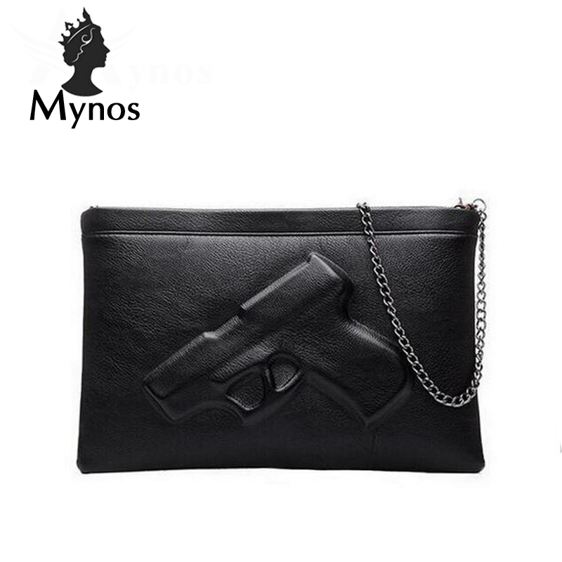 MYNOS 3D Gun Chain Women Messenger Bag Lady Day evening clutch bags Leather Crossbody Bag Famous Brand Sac A Main Femme Purse сумка через плечо bolsas femininas couro sac femininas couro designer clutch famous brand