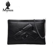 MYNOS 3D Gun Chain Women Messenger Bag Lady Day evening clutch bags Leather Crossbody Bag Famous