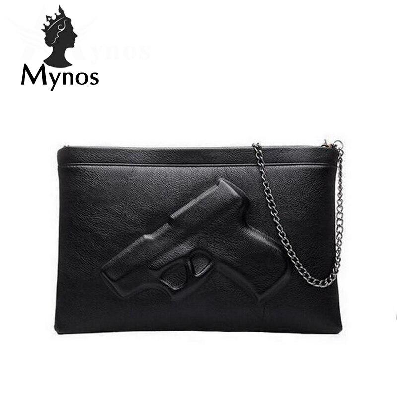 MYNOS 3D Gun Chain font b Women b font Messenger font b Bag b font Lady