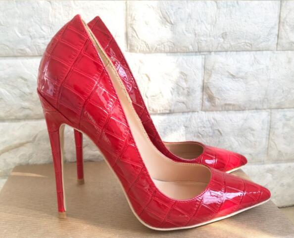 Talon Mode 10cm Des Mince Nouvelle De 8cm En 2019 12cm Mariage ~ Femmes 33 Rouge 44 Pointu Crocodile Modèle Bout Chaussures Pompes Cuir Verni CxtshdQr