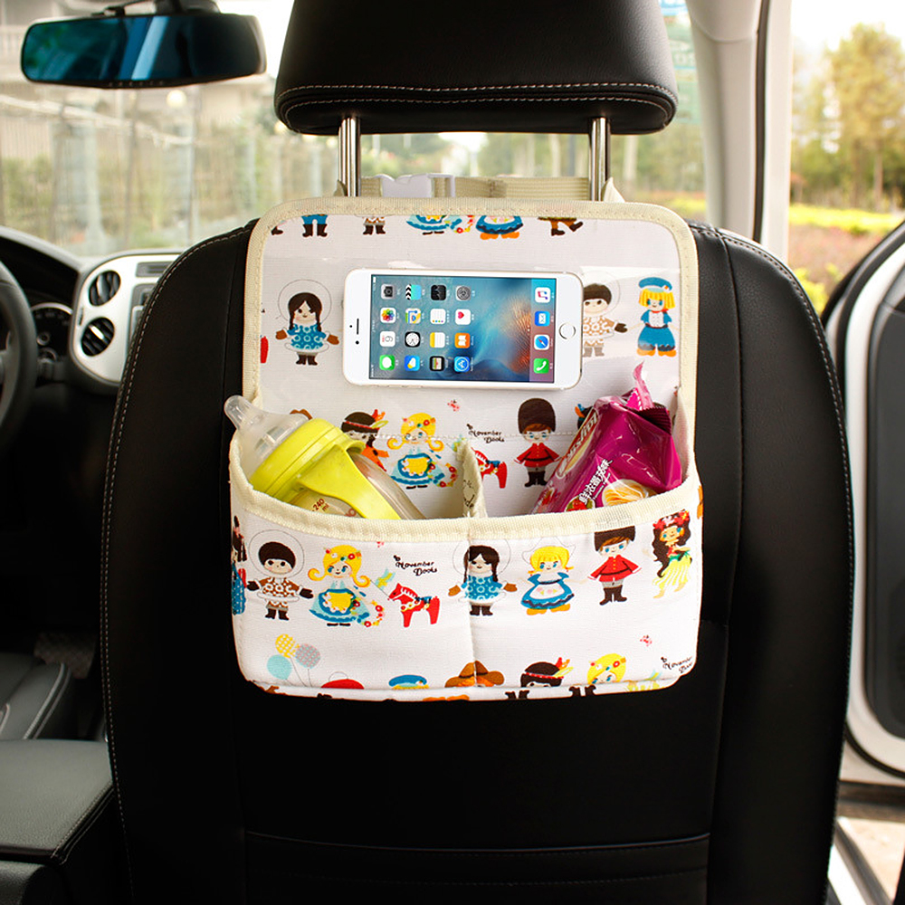 Car Back Seat Organizer Cartoon Storage Bag for Food Beverage Phone Ipad Auto Interior Accessories Universal Stowing Tidying ...