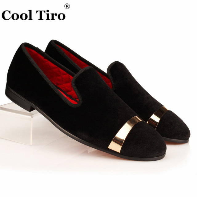 a7a46d92764 COOL TIRO Black Velvet Slippers Men Loafers Velours Smoking Slip-on Shoes  Party and Wedding Dress Shoes Men s Flats Gold Buckle