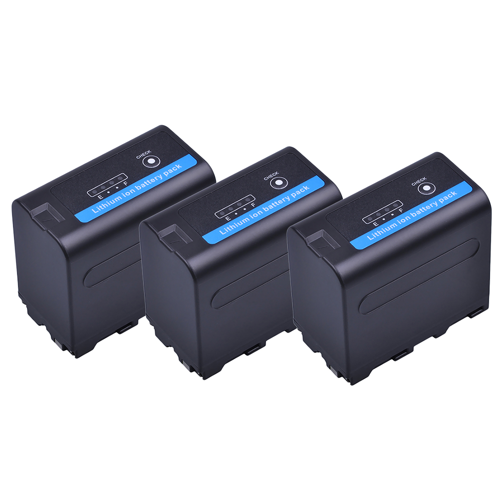 3Pcs 7.2V 7200mAh NP F960 F970 Camera Li-ion Battery with LED Power Indicator for Sony NP-F550 NP-F770 NP-F750 F960 F970 Accu durapro 4pcs np f970 np f960 npf960 npf970 battery lcd fast dual charger for sony hvr hd1000 v1j ccd trv26e dcr tr8000 plm a55