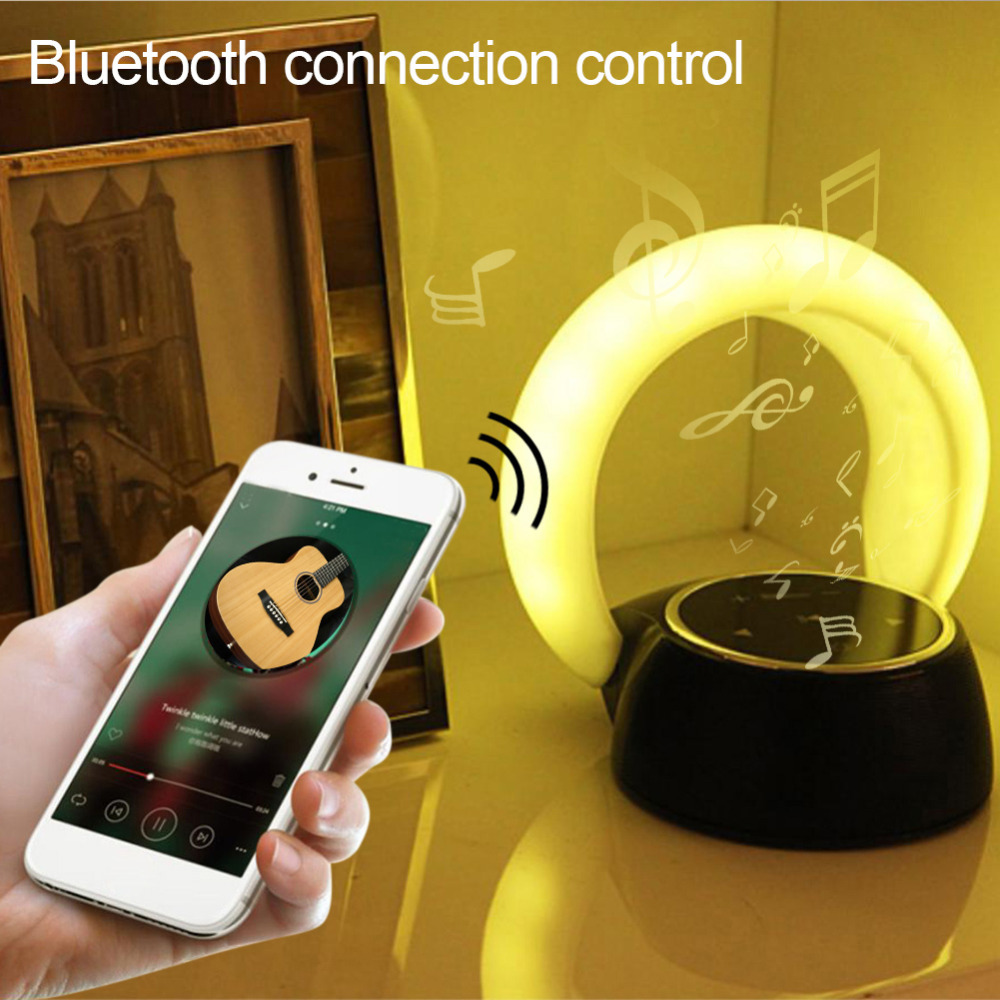 Mini Portable Touch Control USB Charging 14LED Night Light Table Lamp Romantic Room Wireless Bluetooth Speaker Creative Gift