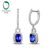 14k Gold Natural AAA Blue 2.38ct Tanzanite Pave Diamond Drop Dangle Earrings