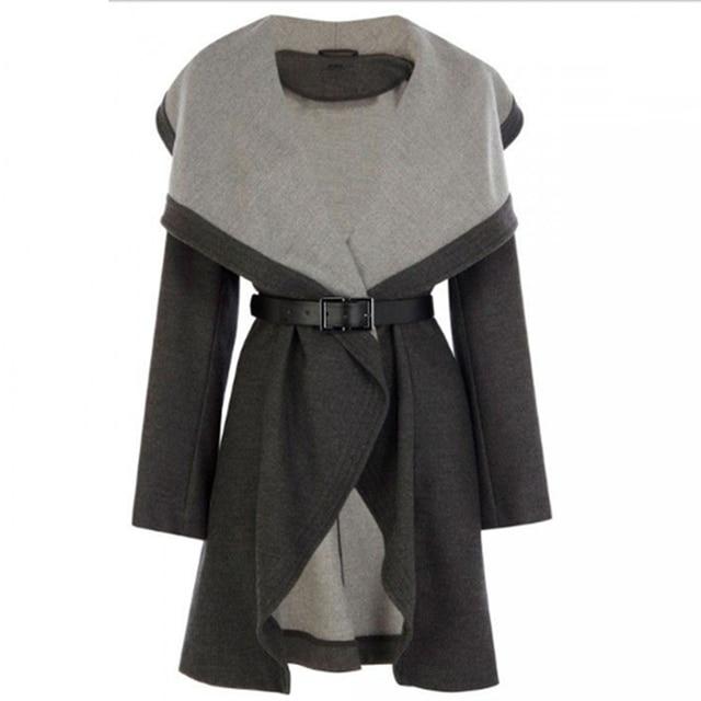 Clocolor Casual Long Coat Fashion Turn Down Collar Asymmetrical Office Ladies Elegant Winter Clothing Outwear Women Overcoat