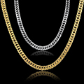 Gold Chain For Men Hip Hop Jewelry Stainless Steel Curb Chain Necklace Gold Plated Femme Bohemian Jewelry Colar Wholesale